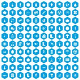 100 garden icons set blue. 100 garden icons set in blue hexagon isolated vector illustration Royalty Free Illustration