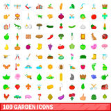 100 garden icons set, cartoon style. 100 garden icons set in cartoon style for any design vector illustration Stock Images