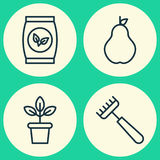 Garden Icons Set. Collection Of Flowerpot, Rake, Plant Seeds And Other Elements. Also Includes Symbols Such As Plant Stock Photos