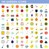 100 garden icons set, flat style. 100 garden icons set in flat style for any design vector illustration Stock Photo