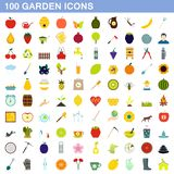 100 garden icons set, flat style. 100 garden icons set in flat style for any design illustration royalty free illustration