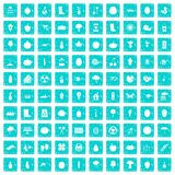 100 garden icons set grunge blue. 100 garden icons set in grunge style blue color isolated on white background vector illustration Stock Image