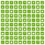 100 garden icons set grunge green. 100 garden icons set in grunge style green color isolated on white background vector illustration Stock Images