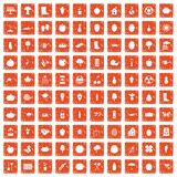 100 garden icons set grunge orange. 100 garden icons set in grunge style orange color isolated on white background vector illustration vector illustration