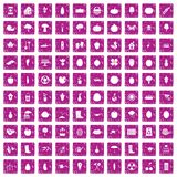 100 garden icons set grunge pink. 100 garden icons set in grunge style pink color isolated on white background vector illustration Stock Image