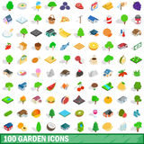 100 garden icons set, isometric 3d style Royalty Free Stock Photo