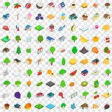 100 garden icons set, isometric 3d style Royalty Free Stock Photography
