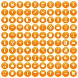 100 garden icons set orange. 100 garden icons set in orange circle isolated on white vector illustration vector illustration