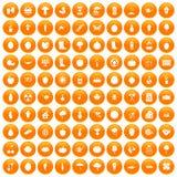100 garden icons set orange. 100 garden icons set in orange circle isolated on white vector illustration Royalty Free Stock Images