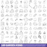 100 garden icons set, outline style. 100 garden icons set in outline style for any design vector illustration royalty free illustration
