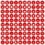 100 garden icons set red. 100 garden icons set in red circle isolated on white vector illustration Stock Photography