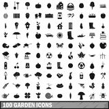 100 garden icons set, simple style Stock Photos