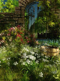 Garden Idyll, 3d CG. 3D computer graphics of a garden with gate, bucket and blooming plants Royalty Free Stock Photo
