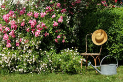 Garden idyll with iron chair and sun hat Stock Photos