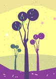 Garden illustration. A beautiful garden illustration in yellow background Royalty Free Stock Photo