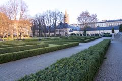 Garden of the Imperial Castle in Poznan, Poland. Garden of the Imperial Castle in Poznan, built in 1910 in Neo-Romanesque style. Poznan, Poland stock photography