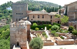 Garden inside the Alhambra in Granada in Andalusia (Spain) Royalty Free Stock Image