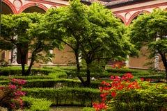 Garden inside of church Santa Maria delle Grazie. Italy, Milan Royalty Free Stock Images