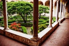 Garden inside of church Santa Maria delle Grazie. Italy, Milan Stock Images