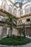 Garden from inside a colonial house in La Havana Royalty Free Stock Photography