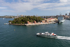 Garden Island Naval Base, Sydney Harbour. With ferry in foreground Stock Photos