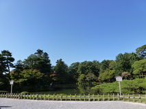 Garden. A japanese garden with blue sky Stock Image