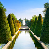Garden in Keukenhof, conical hedges lines, water pool and fountain. Netherlands royalty free stock images