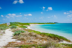 Garden Key Beach. Beach and peninsula on Garden Key, closed seasonally for migrating bird nesting. Garden Key is one of the Florida islands forming Dry Tortugas Stock Photography