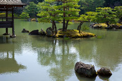 Garden in Kinkakuji Temple. Golden Pavilion Temple is a World Heritage Site, named Rokuonji. It was built in 1379, originally Ashikaga Yoshimitsu General Villa Royalty Free Stock Photos