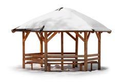 Garden Kiosk in Wintertime. Wooden kiosk covered by snow isolated on white background stock images