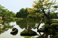 Garden lake, Kanazawa castle, Japan Stock Photo