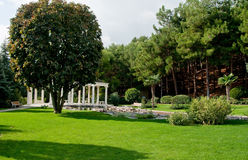 Garden with lake and statues. Green landscape - Garden with lake and statues Stock Photo