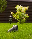 Garden lamp, made in the Middle Ages, on a lawn with a juicy green grass.  stock photos