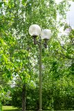 Garden lamp with spherical shades, street lighting against a background of green trees royalty free stock images