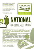 Garden landscape company vector poster. Parks planting and gardens landscape poster for company or eco environmental association. Vector design green trees on Royalty Free Stock Photo