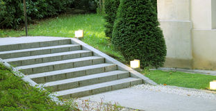 Garden landscape design stair with light Stock Images