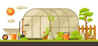 Garden landscape illustration with plants and tools. Season gardening concept.  vector illustration