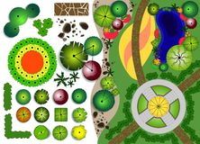 Garden landscape plan with patio and pond royalty free illustration