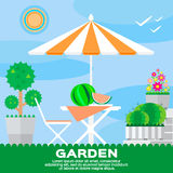 Garden landscape – summer picnic. Royalty Free Stock Image