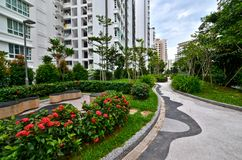 Garden Landscaping Housing Estate, Singapore Royalty Free Stock Photography