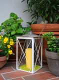 Garden lantern. Balcony or terrace with lantern surrounded by pot plants Royalty Free Stock Images