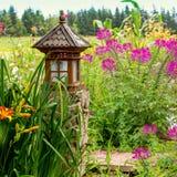 Garden Lantern. Asian inspired lantern in the summer garden Stock Image