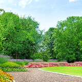 Garden with lawn and flower garden Royalty Free Stock Images