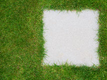 Garden lawn grass background, with grey tile inset, copyspace. Royalty Free Stock Photo