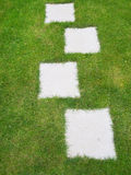 Garden lawn grass background with path of grey tiles inset. Stock Image