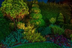 Garden Led Lighting Illumination. Backyard Garden Led Lighting Illumination. Beautiful Garden Illuminated by Small Spot Light Led Reflectors Stock Photo