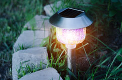 Garden lights with solar battery Stock Photography