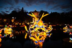 Garden of lights spectacle in botanical garden of Montreal royalty free stock photography
