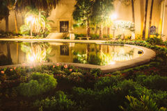 Garden and the Lily Pond at night  Stock Image