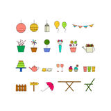 Garden line icon set. Garden party line icon set. Vector illustration. Colorful birthday, tea party collection Royalty Free Stock Photography